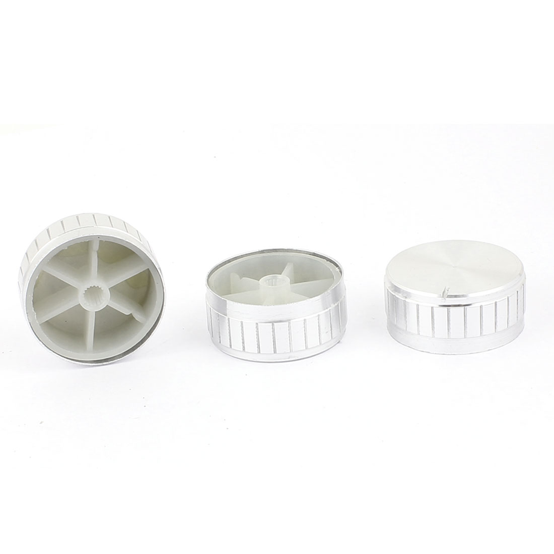 3 Pcs 40mm x 6mm Aluminium Alloy Potentiometer Control Knob Volume Cap Knurled Button Silver Tone