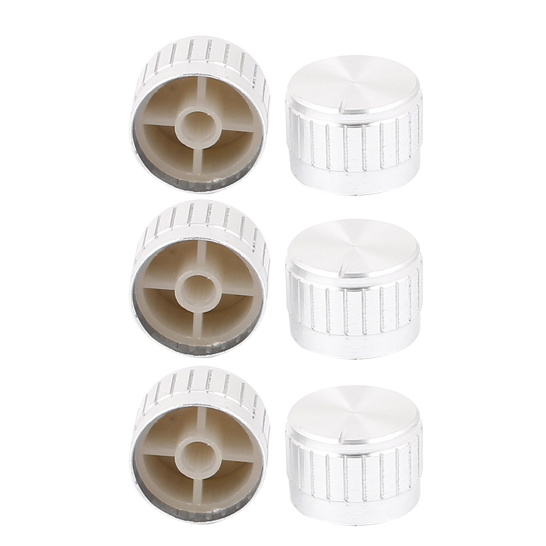 6 Pcs 26mm x 6mm Potentiometer Control Switch Volume Cap Aluminium Alloy Knurled Button Silver Tone