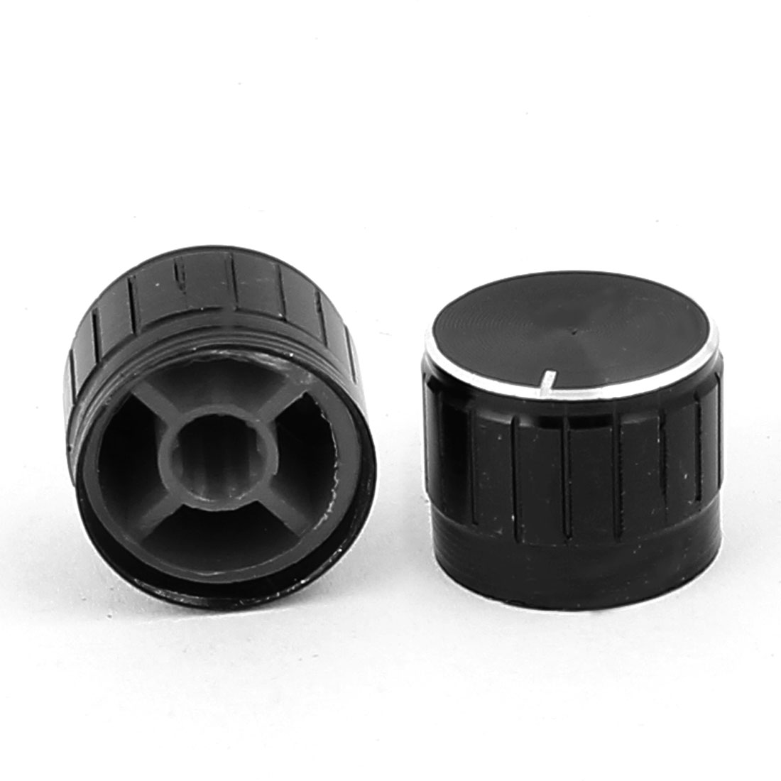 2 Pcs 21mm x 6mm Aluminium Alloy Potentiometer Control Knob Mini Cap Knurled Button Black