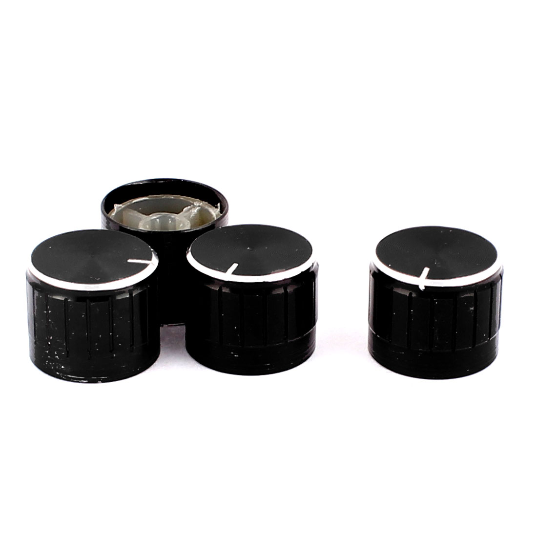 4 Pcs 21mm x 6mm Aluminium Alloy Potentiometer Control Knob Mini Cap Knurled Button Black