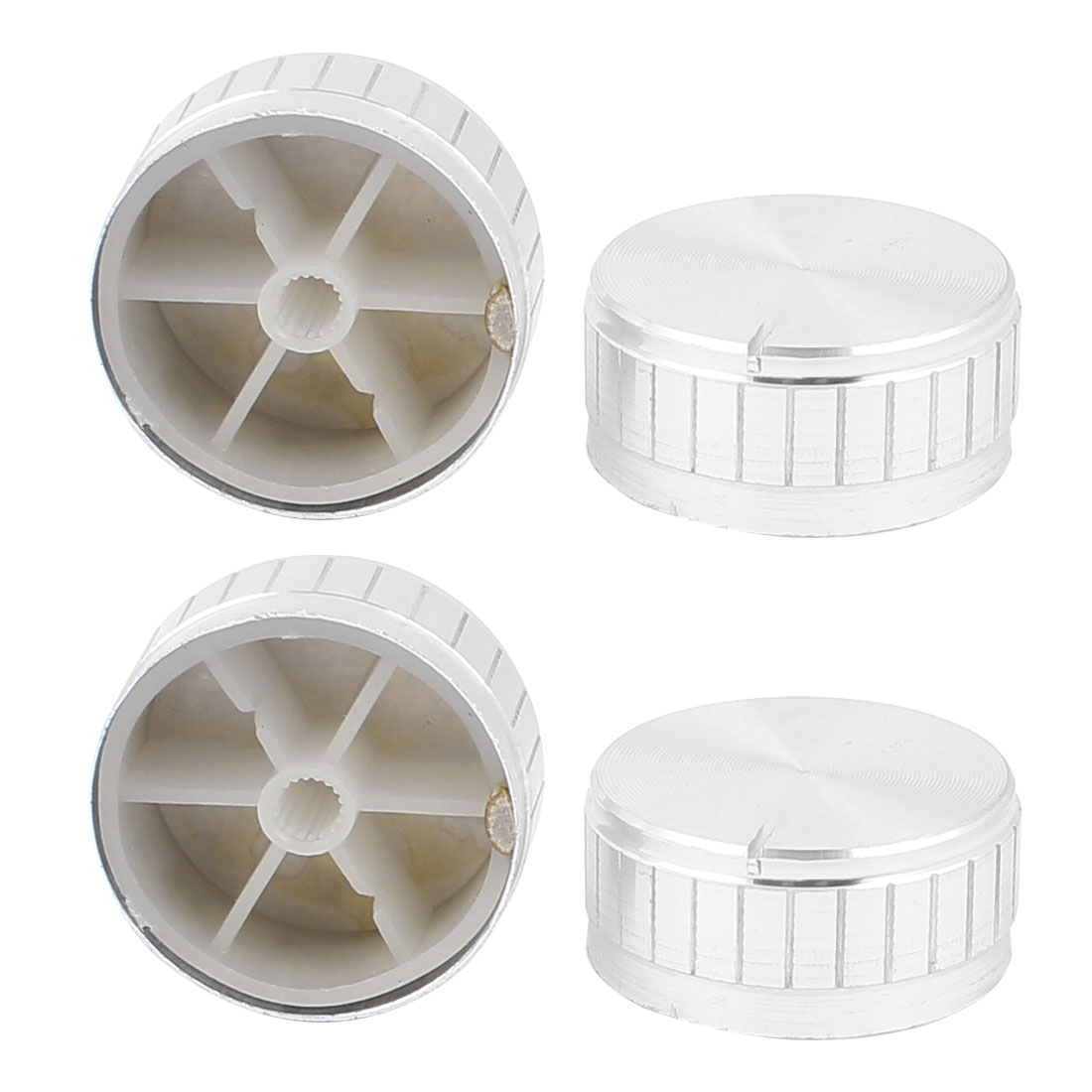 4 Pcs 40mm x 6mm Aluminium Alloy Potentiometer Control Knob Volume Cap Knurled Button Silver Tone
