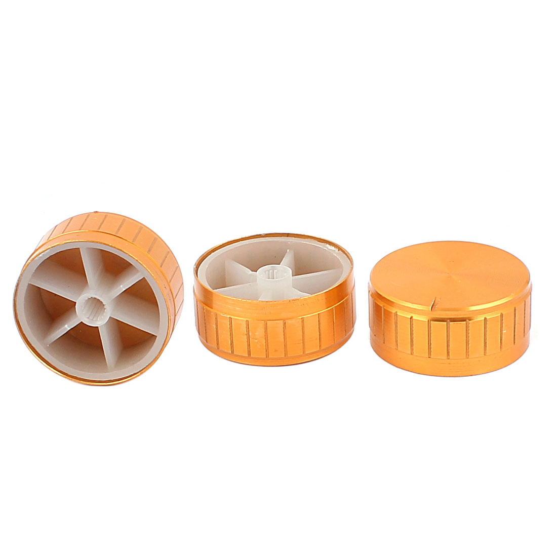 3 Pcs 40mm x 6mm Aluminium Alloy Potentiometer Control Knob Volume Cap Knurled Button Gold Tone