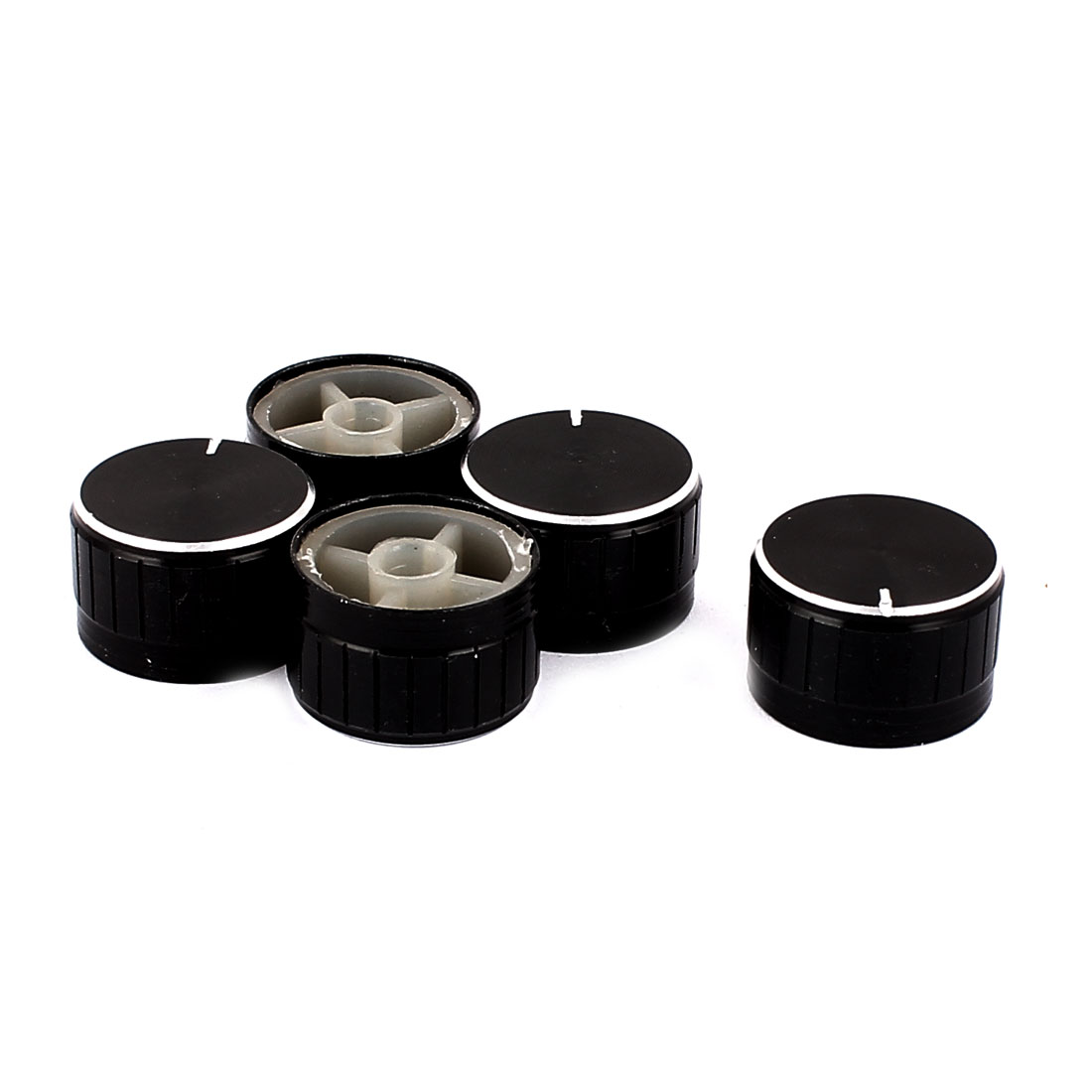 5 Pcs 26mm x 6mm Potentiometer Control Switch Volume Cap Aluminium Alloy Knurled Button Black