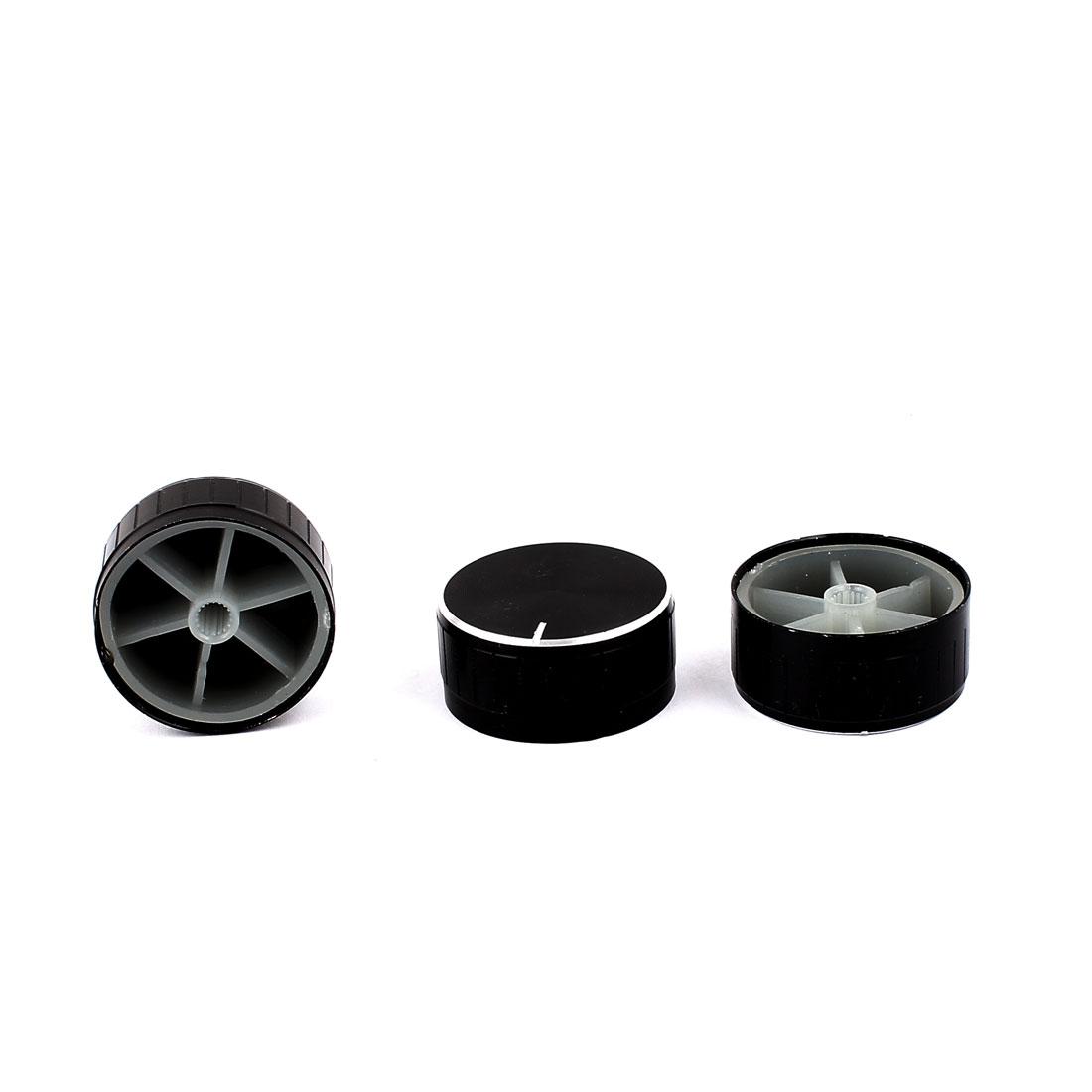 3 Pcs 40mm x 6mm Aluminium Alloy Potentiometer Control Knob Mini Cap Knurled Button Black