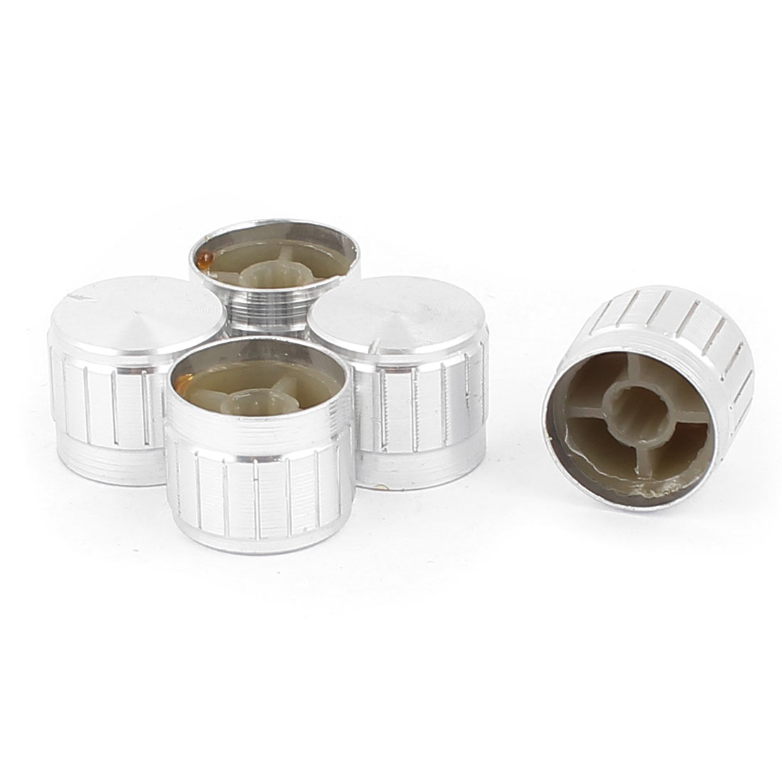 5 Pcs 21mm x 6mm Aluminium Alloy Potentiometer Control Knob Mini Cap Knurled Button Silver Tone