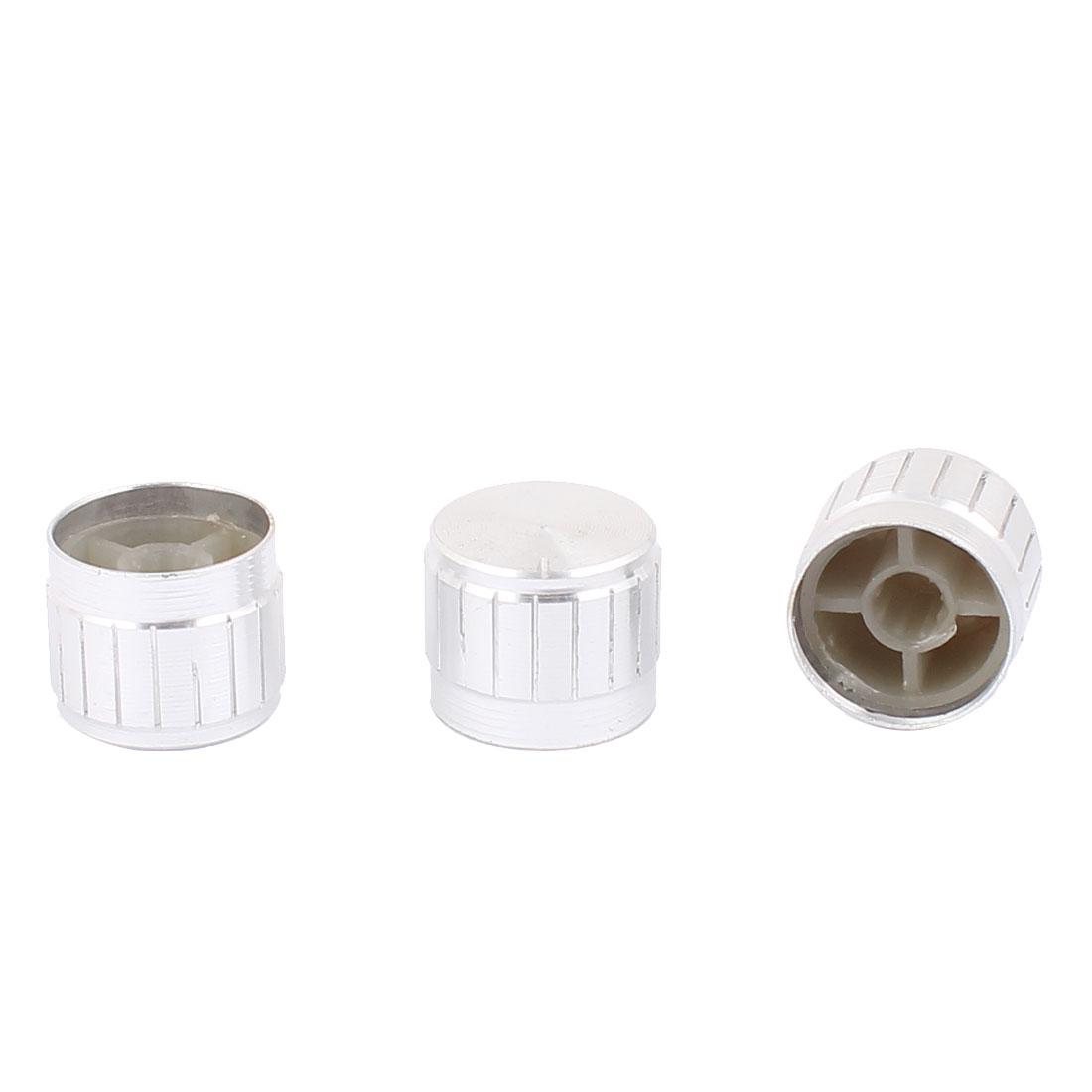 3 Pcs 21mm x 6mm Aluminium Alloy Potentiometer Control Knob Mini Cap Knurled Button Silver Tone
