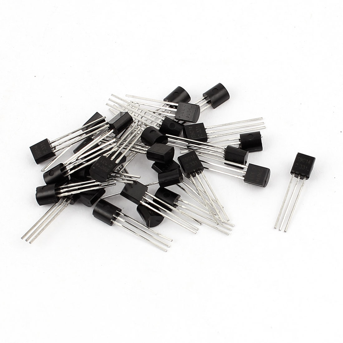 30 Pcs S9014 TO-92 NPN Bipolar Low Power Junction Transistors 50V 0.15A