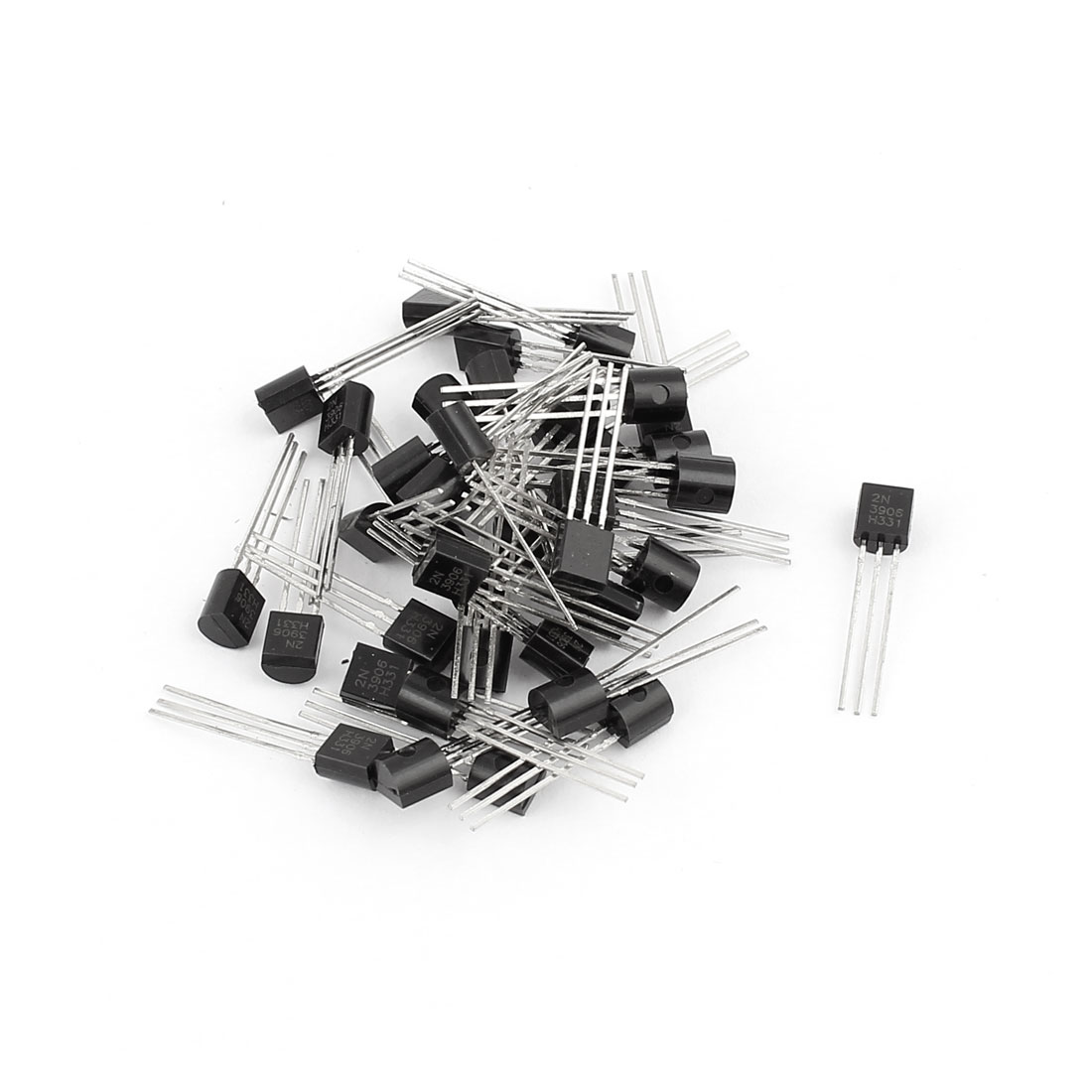 40 Pcs 2N3906 TO-92 PNP Low Power Bipolar Junction Transistors 40V 0.2A