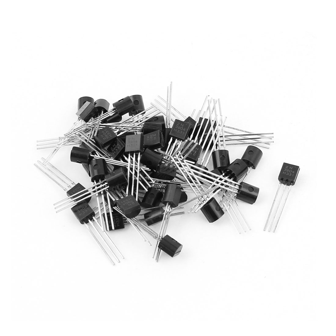 50 Pcs 2N3904 TO-92 NPN Bipolar Low Power Junction Transistors 40V 0.2A