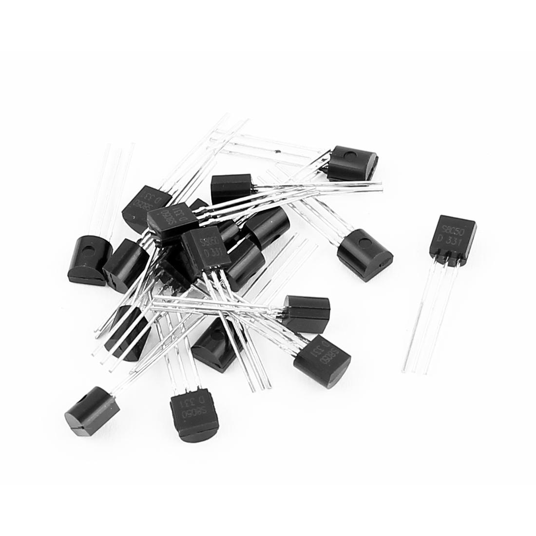 20 Pcs S8050 TO-92 NPN Bipolar Low Power Junction Transistors 40V 0.5A