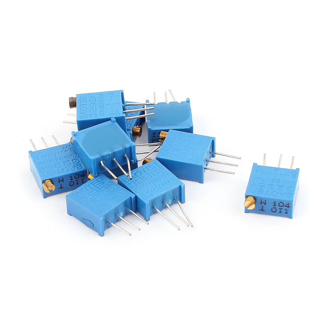 10 Pcs 3296W 100K ohm Multiturn Potentiometer Pot Variable Resistor