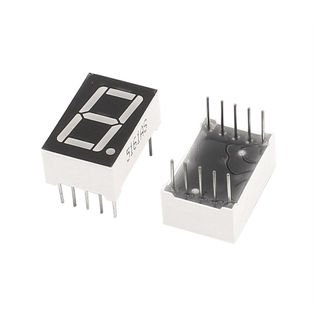 "2 Pcs Common Cathode 10 Pin 1 Bit 7 Segment 0.56"" Red LED Display Digital Tube"