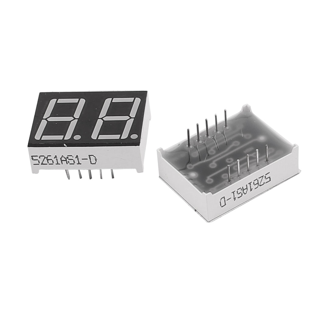 "2 Pcs Common Cathode 10 Pin 2 Bit 7 Segment 0.56"" Red LED Display Digital Tube"