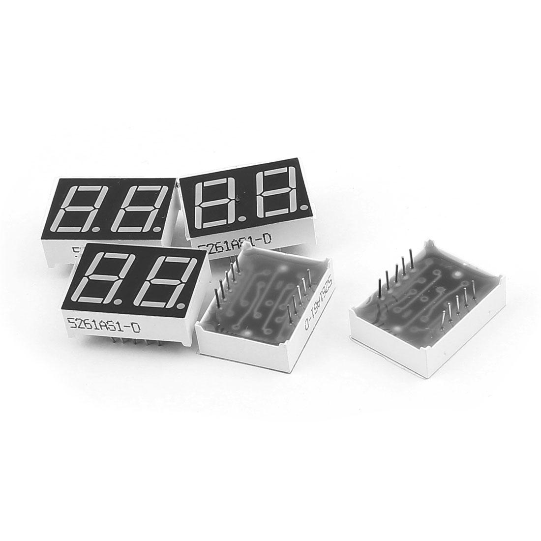 "5 Pcs Common Cathode 10 Pin 2 Bit 7 Segment 0.56"" Red LED Display Digital Tube"