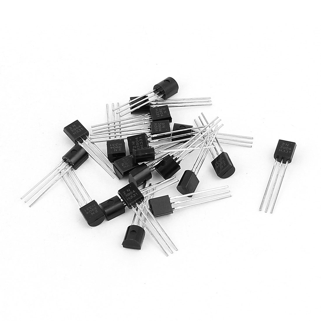20 Pcs 2N3904 TO-92 NPN Bipolar Low Power Junction Transistors 40V 0.2A