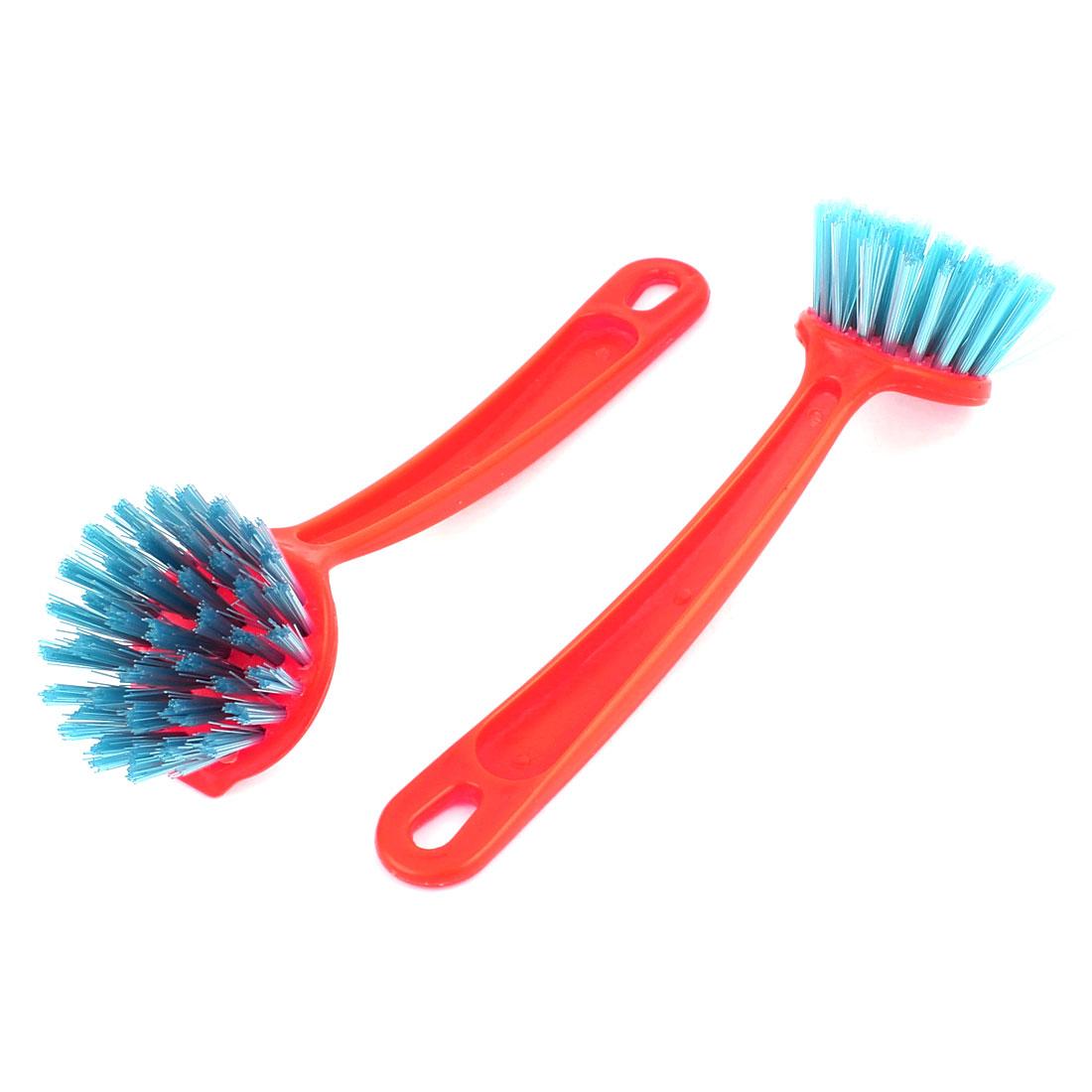 2 Pcs Kitchen Red Bristles Bowl Dish Pot Pan Cleaning Brush Scrubbers