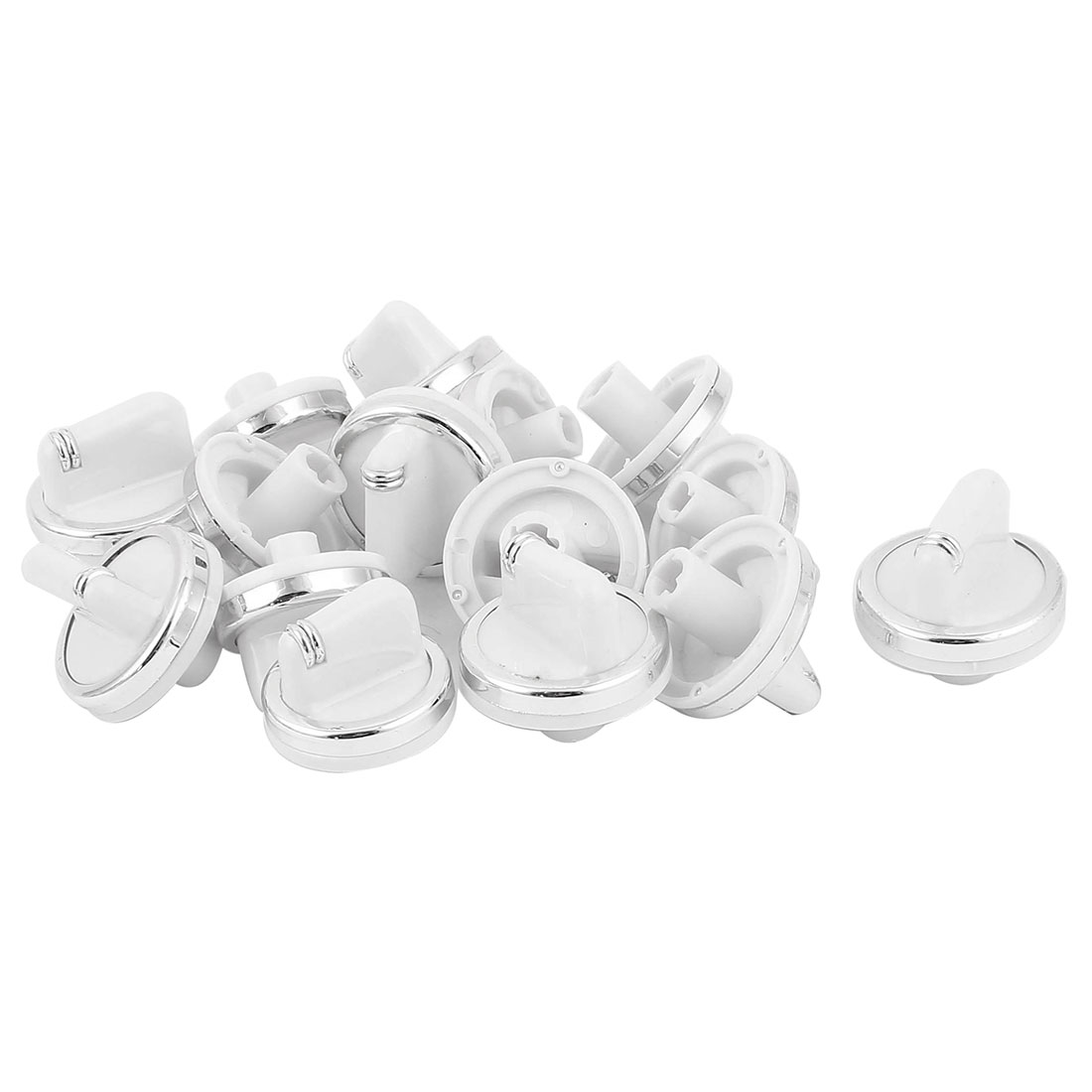 15 Pcs Kitchen White Plastic Gas Stove Cooker Oven Control Rotary Switch Knobs