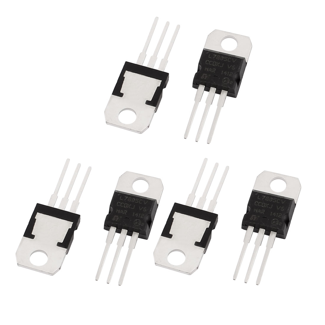 6 Pcs 5V 1A 3 Pin Terminals 7805 Positive Voltage Regulator TO-220