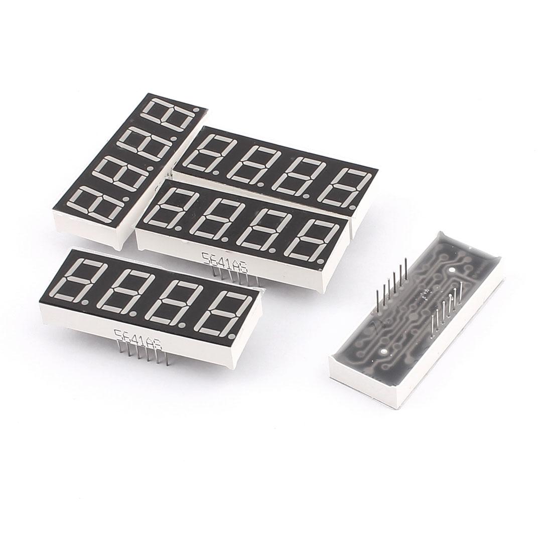"5 Pcs Common Cathode 12 Pin 4 Bit 7 Segment 0.56"" Red LED Display Digital Tube"
