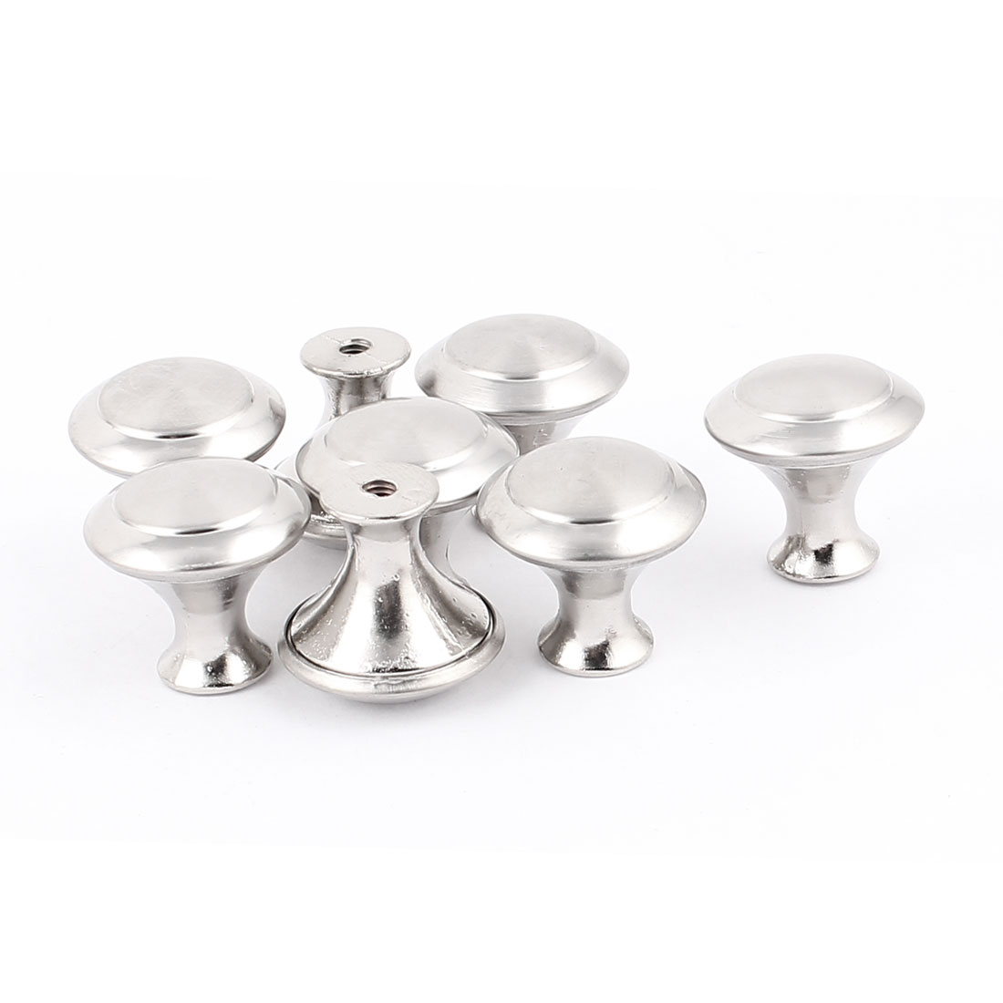 8 Pcs Screw Mounted Drawer Cupboard Cabinet Door Round Pull Knobs Silver Tone w Screws