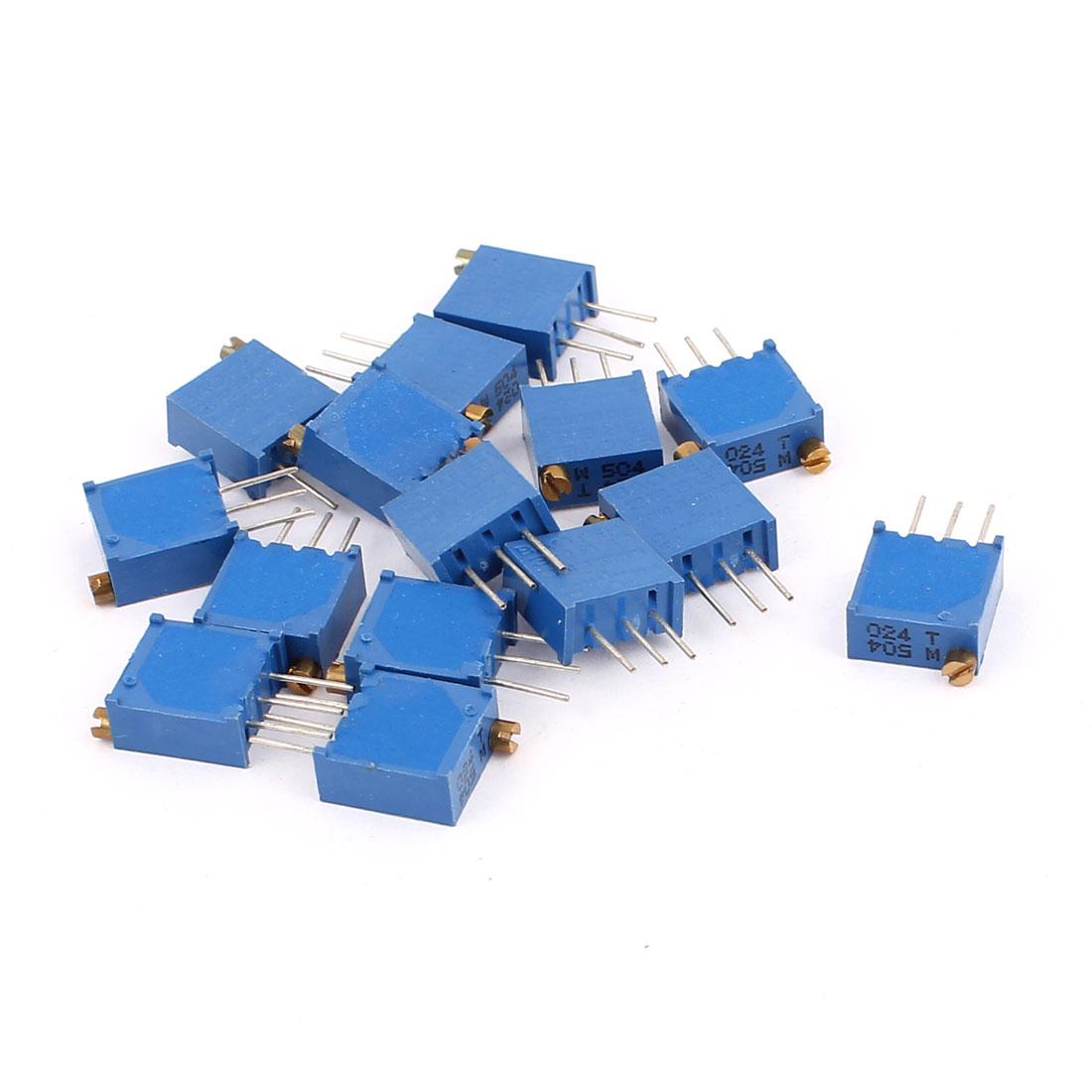 15 Pcs 3296W 500K ohm Multiturn Potentiometer Pot Variable Resistor