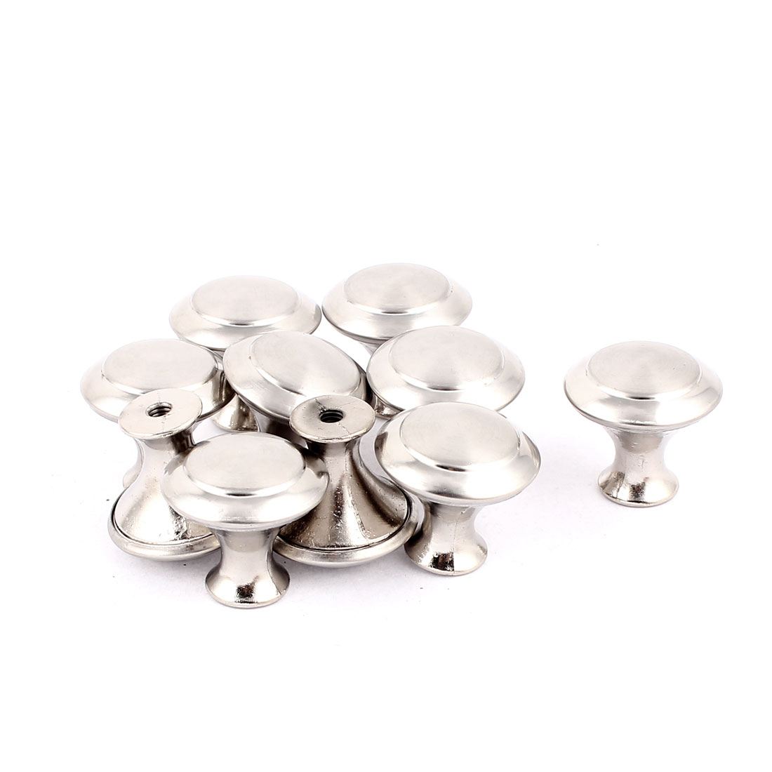 10 Pcs Screw Mounted Drawer Cupboard Cabinet Door Round Pull Knobs Silver Tone w Screws