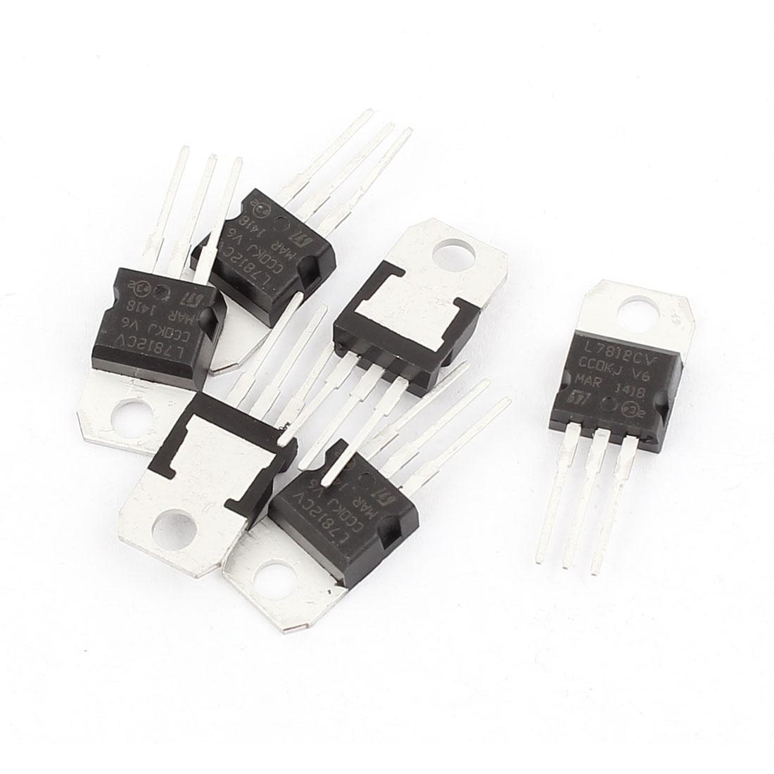 6 Pcs 12V 1A 3 Pin Terminals L7812CV Positive Voltage Regulator TO-220