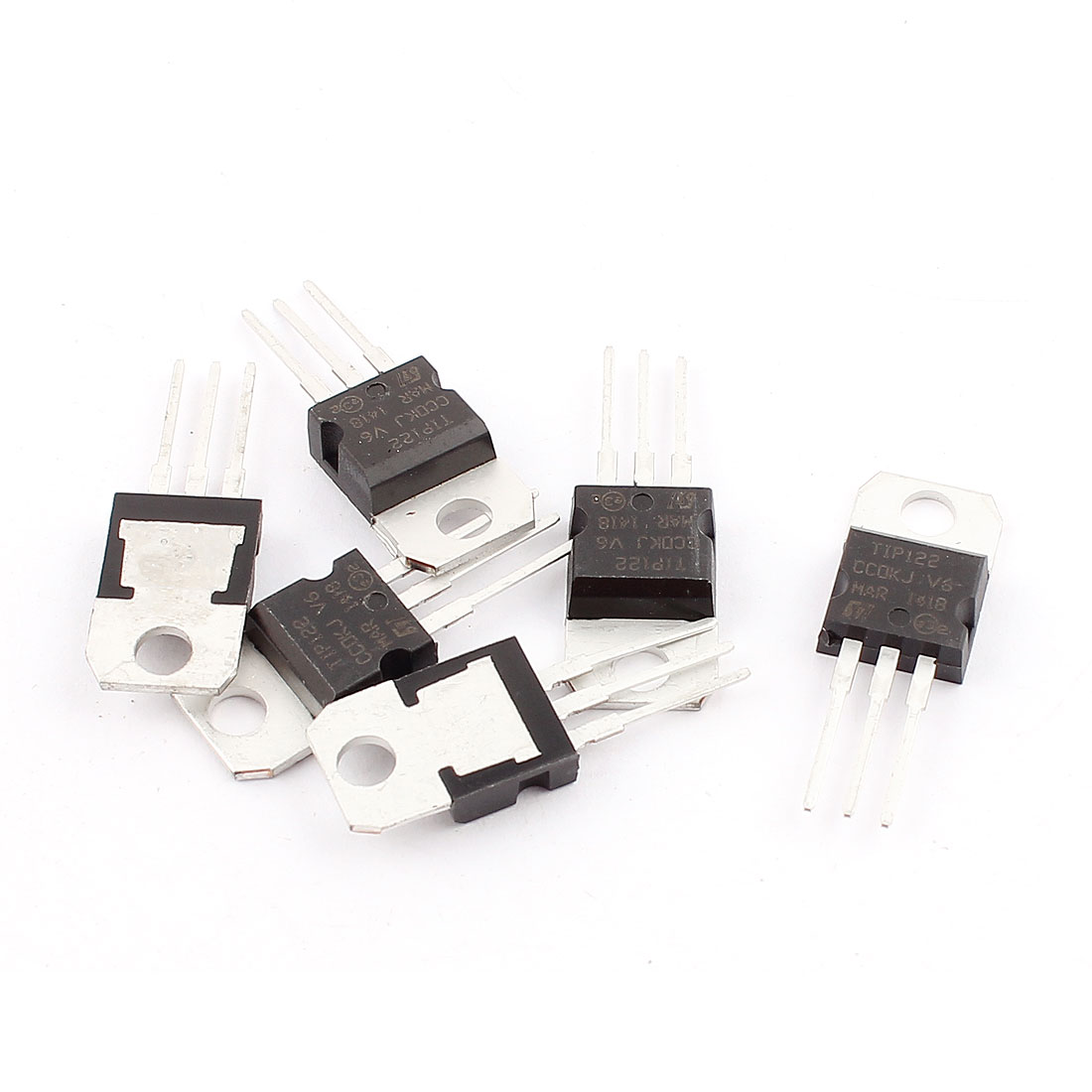 6 Pcs 100V 8A 3 Pin Terminals TIP122 NPN Power Transistor TO-220