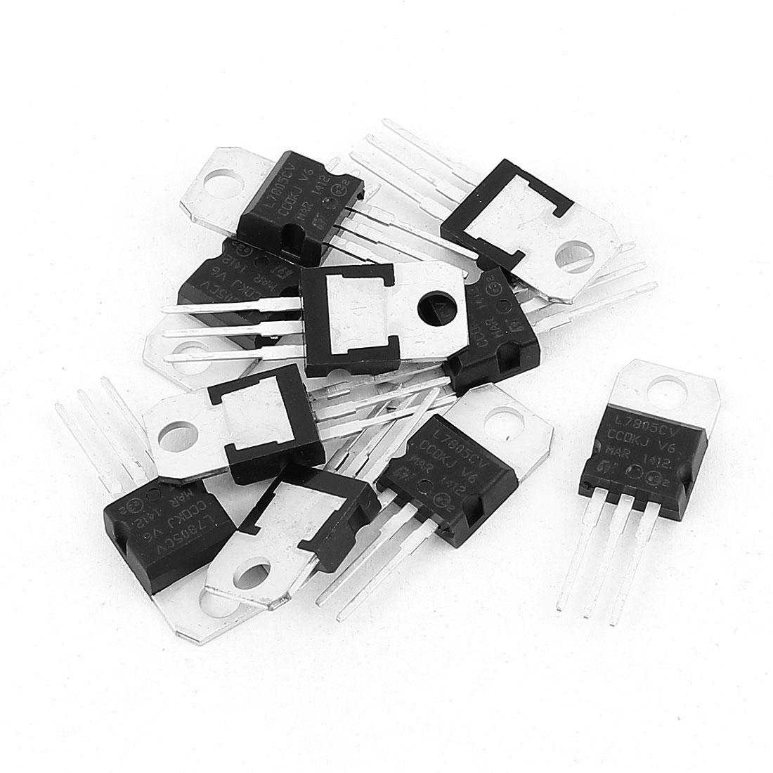 10 Pcs 5V 1.5A 3 Pin Terminals L7805CV Positive Voltage Regulator TO-220