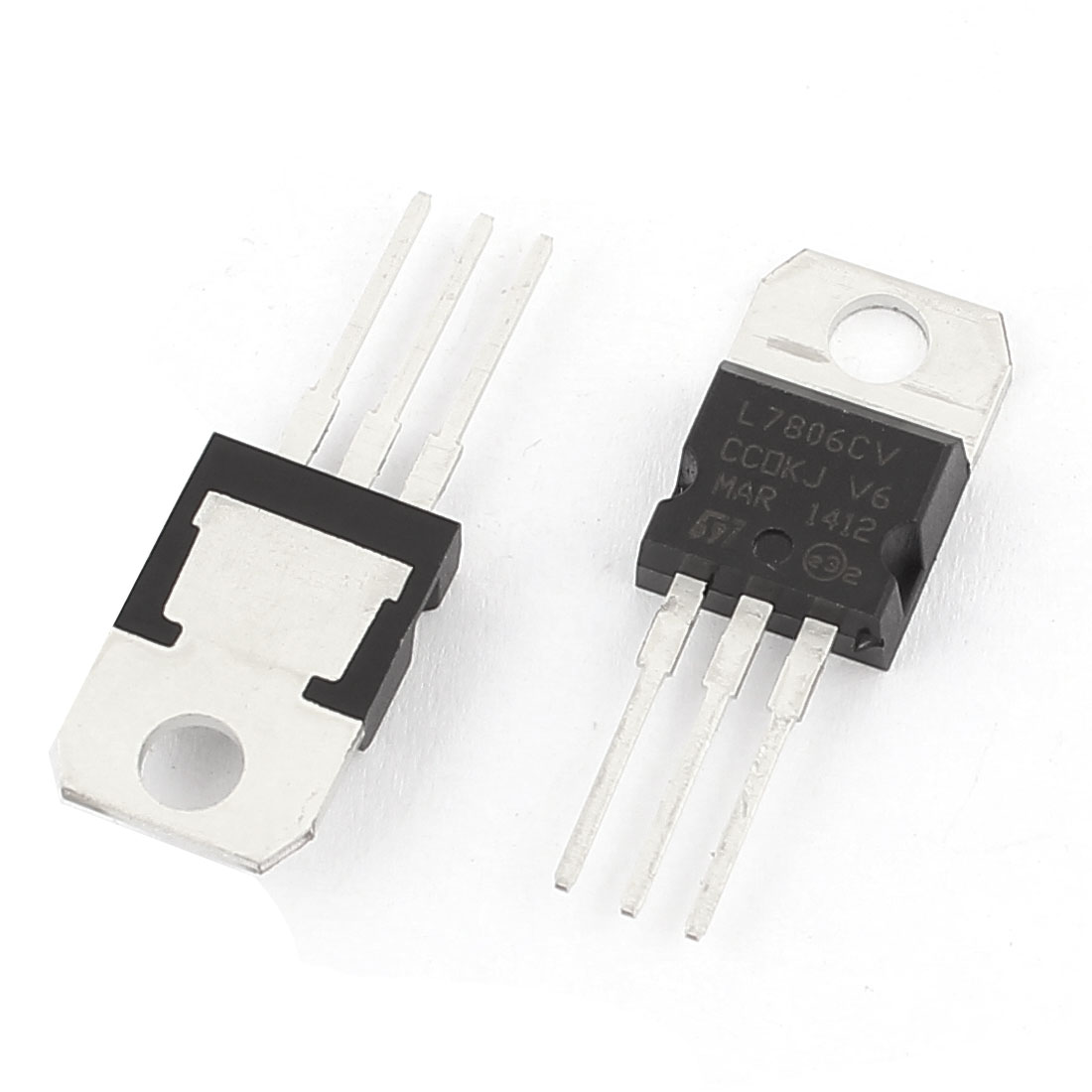 2 Pcs L7806CV 3 Terminals Negative Voltage Regulator 1.5A 6V TO-220 Package