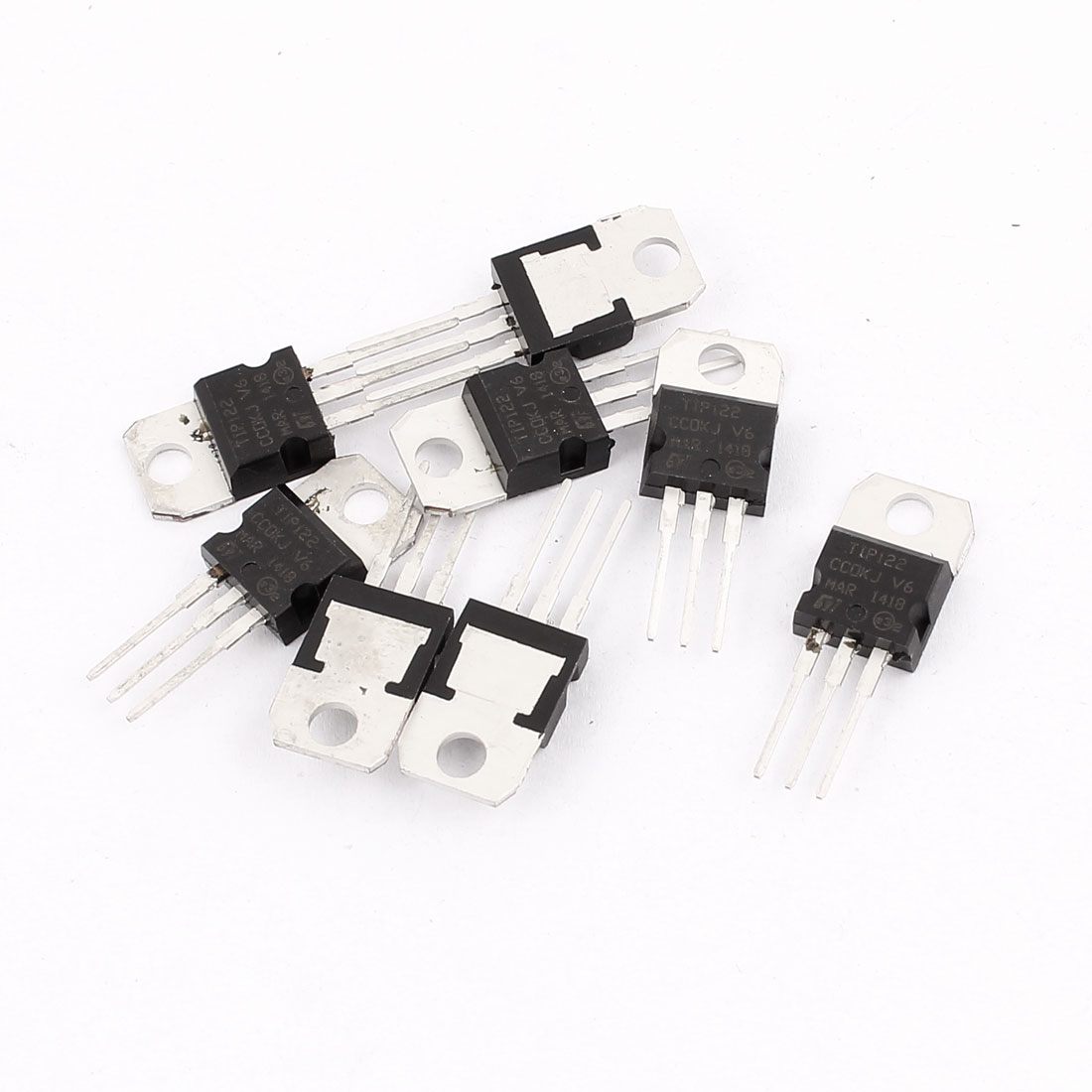 8 Pcs 100V 8A 3 Pin Terminals TIP122 NPN Power Transistor TO-220
