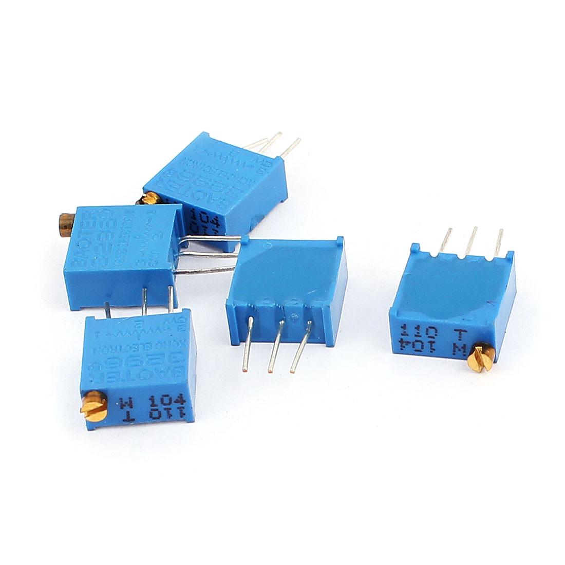 5 Pcs 3296W 100K ohm Variable Resistor Adjustable Resistance for Multiturn Potentiometer