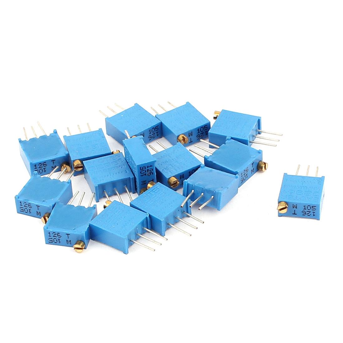 15 Pcs 3296W 1M ohm Multiturn Potentiometer Pot Variable Resistor