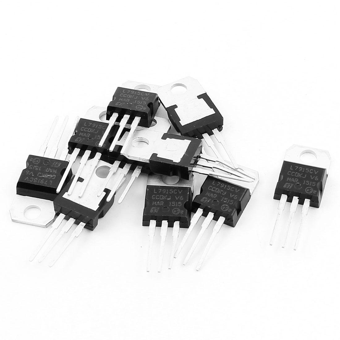10 Pcs 15V 1A 3 Pin Terminals L7915CV Negative Voltage Regulator TO-220