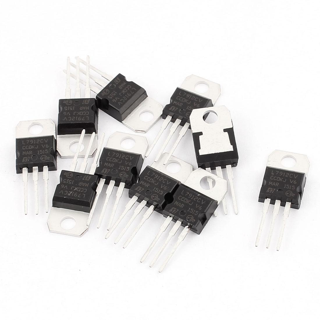 10 Pcs L7912CV 3 Terminals Negative Voltage Regulator 1A 12V TO-220 Package