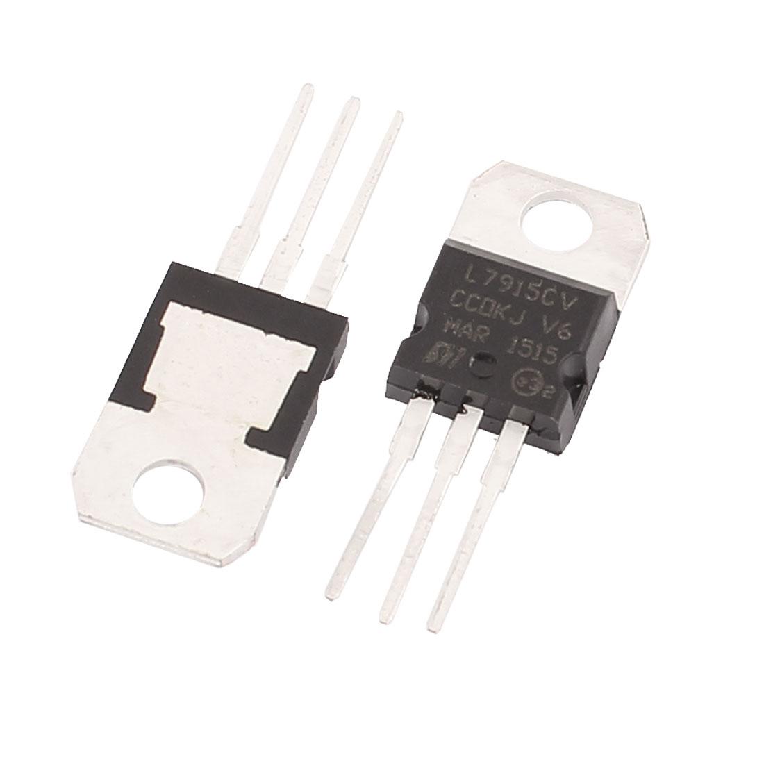 2 Pcs 15V 1A 3 Pin Terminals L7915CV Negative Voltage Regulator TO-220
