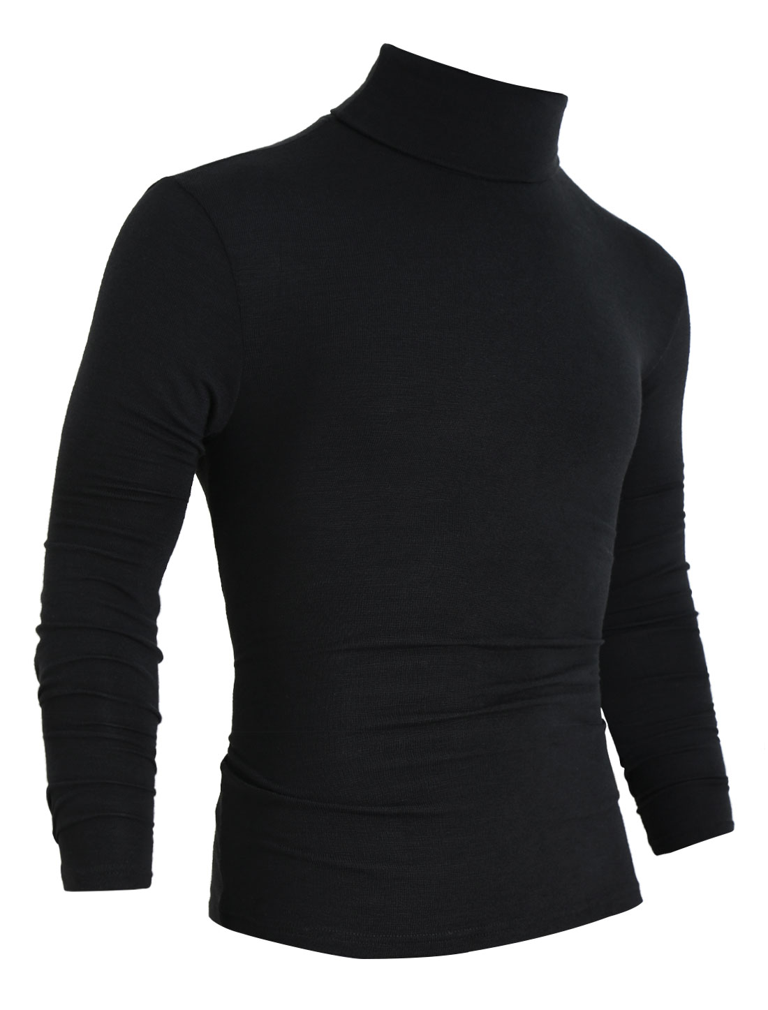 Men Turtle Neck Long Sleeve Slim Fit Shirt Black L