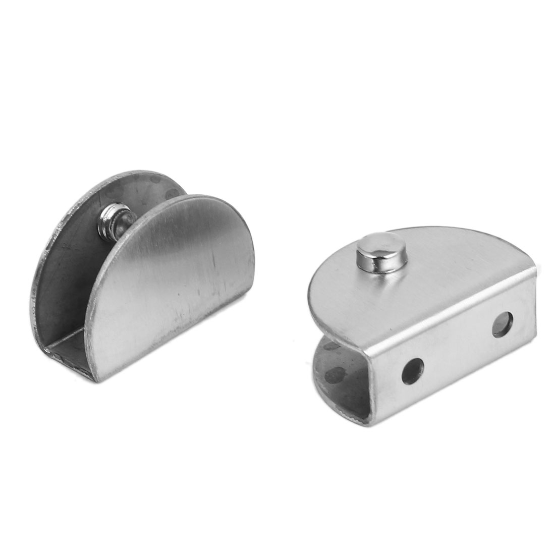 2pcs Silver Tone Metal Half Round Adjustable Screw Mounted Glass Clamp Clip Holder