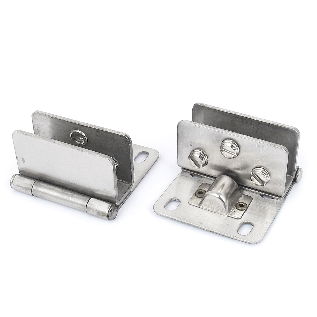 8-12mm Thickness Metal Wall Mounted Cabinet Glass Clamp Clip Door Hinge 2pcs