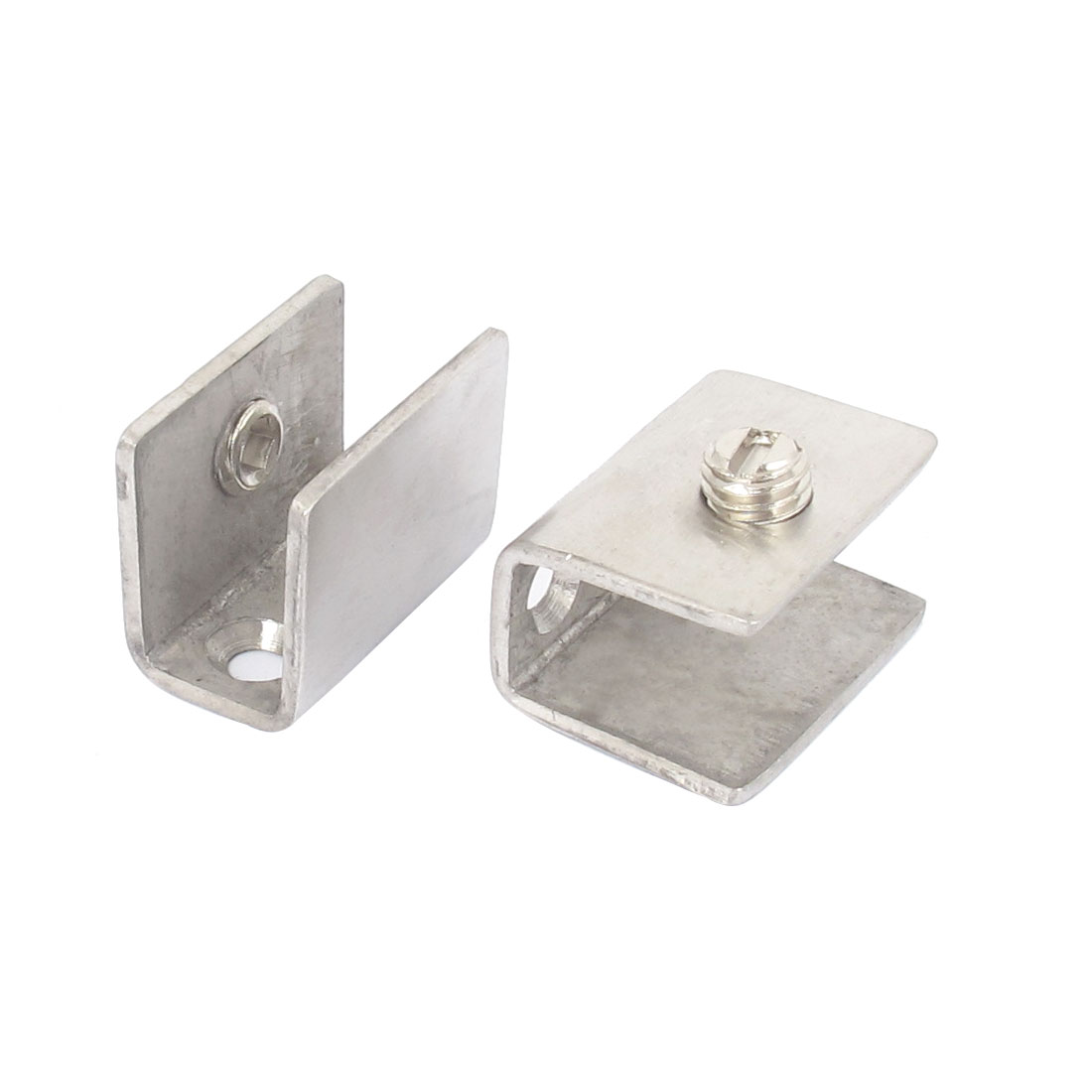 8mm-12mm Thickness Metal Rectangle Adjustable Screw Mounted Glass Clamp Clip Holder 2pcs