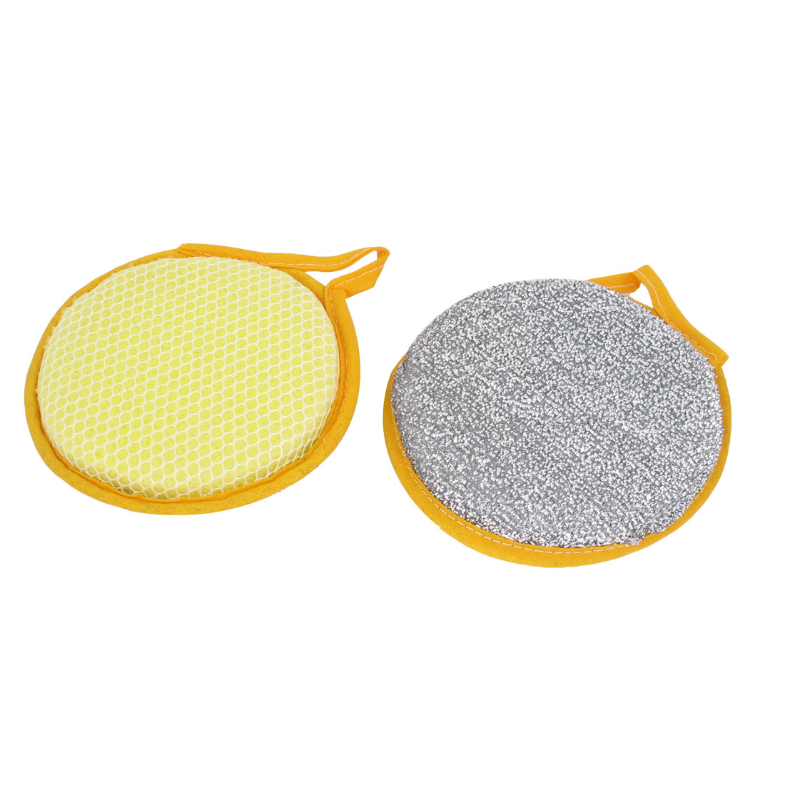 2pcs Yellow Silver Tone Round Shape Double Sides Bowl Dish Scrubber Scrub Pad Sponge Cleaner