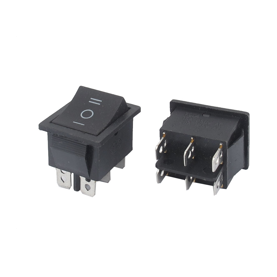 AC 250V 15A AC125V 20A 6 Terminal 3 Position DPDT Snap in Mount Rocker Boat Switch 2pcs