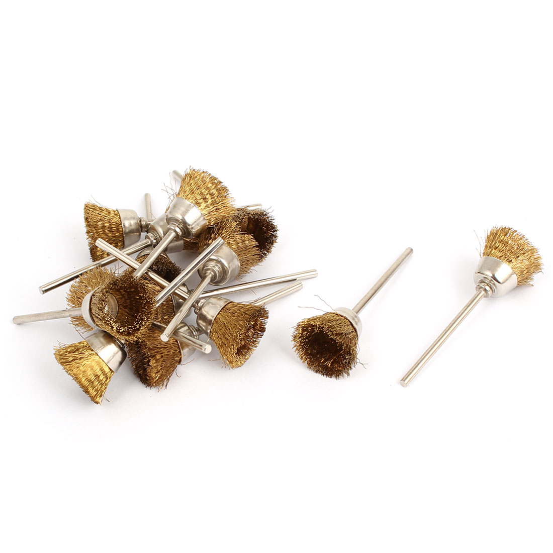 14pcs 2.3mm Shank 15mm Gold Tone Stainless Steel Cup Design Bristle Polishing Brush for Rotary Tool