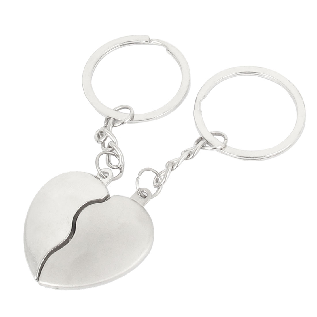 Pair Silver Tone Half Heart Design Couples Lovers Keyring Keychain Key Ring Holder