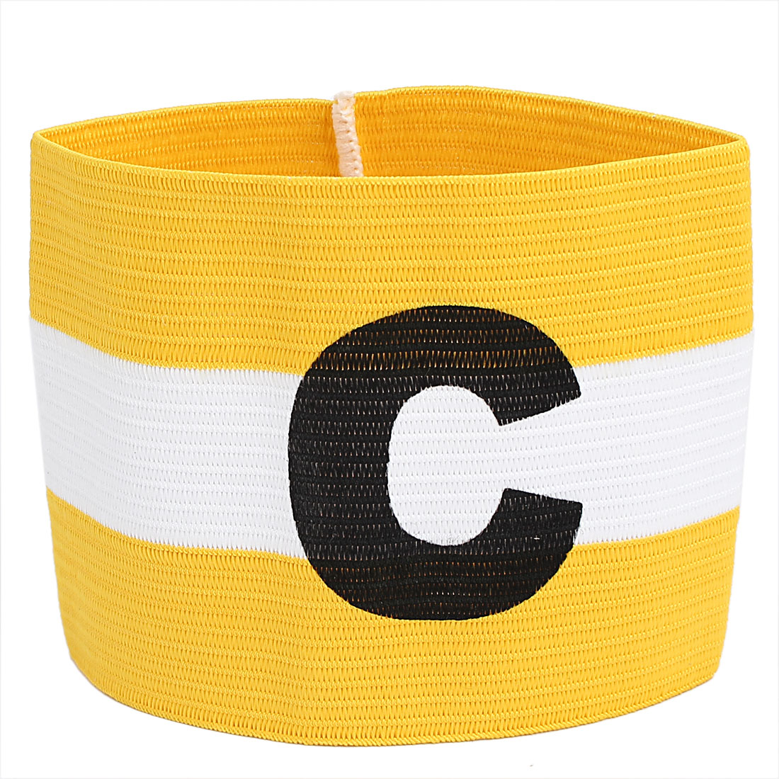 Yellow White Stripe Design Stretchy Sports Match Team Soccer Captains Arm Band Armband
