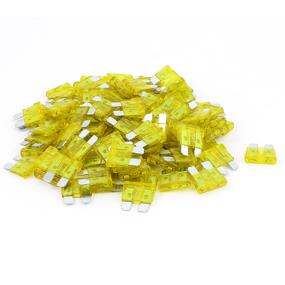 100pcs DC 32V 15A Yellow Plastic Shell Blade Mounting Fuse for Auto Car Truck
