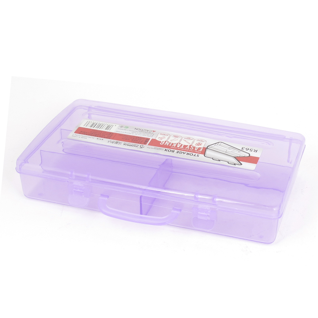 Clear Purple Plastic Rectangle 4 Slots Electronic Component Storage Case Box Container