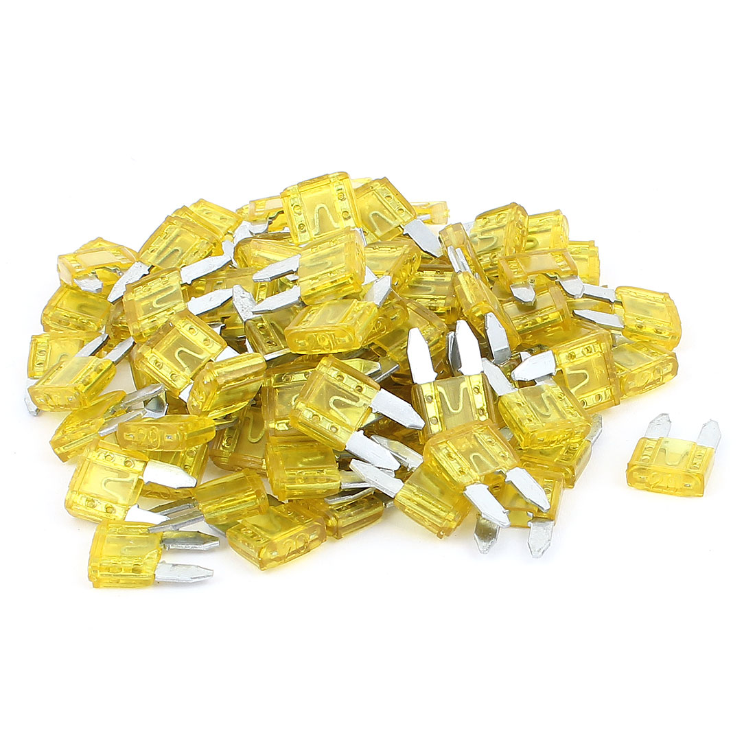 Auto Car Truck Motorcycle DC 32V 15A Plastic Shell Blade Fuse Yellow 100pcs