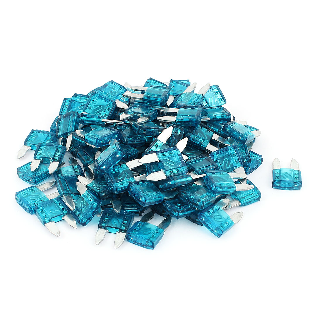 Auto Car Truck Motorcycle Plastic Casing Blade Fuse Blue DC 32V 15A 100pcs
