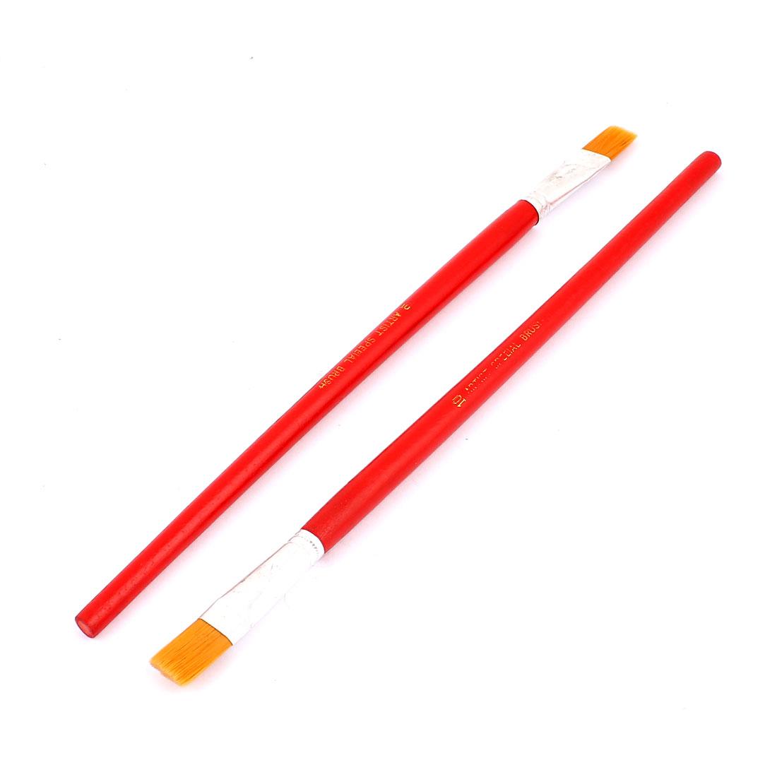 Red Wooden Shaft Faux Fur Bristle Artist Art Oil Painting Paint Brush 2pcs